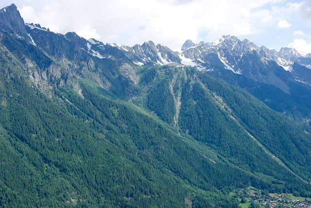 Brévent et la Montée de Planpraz vus depuis le glacier des Bossons (le KV c'est la bande verte qui longe le télécabine de Planpraz)