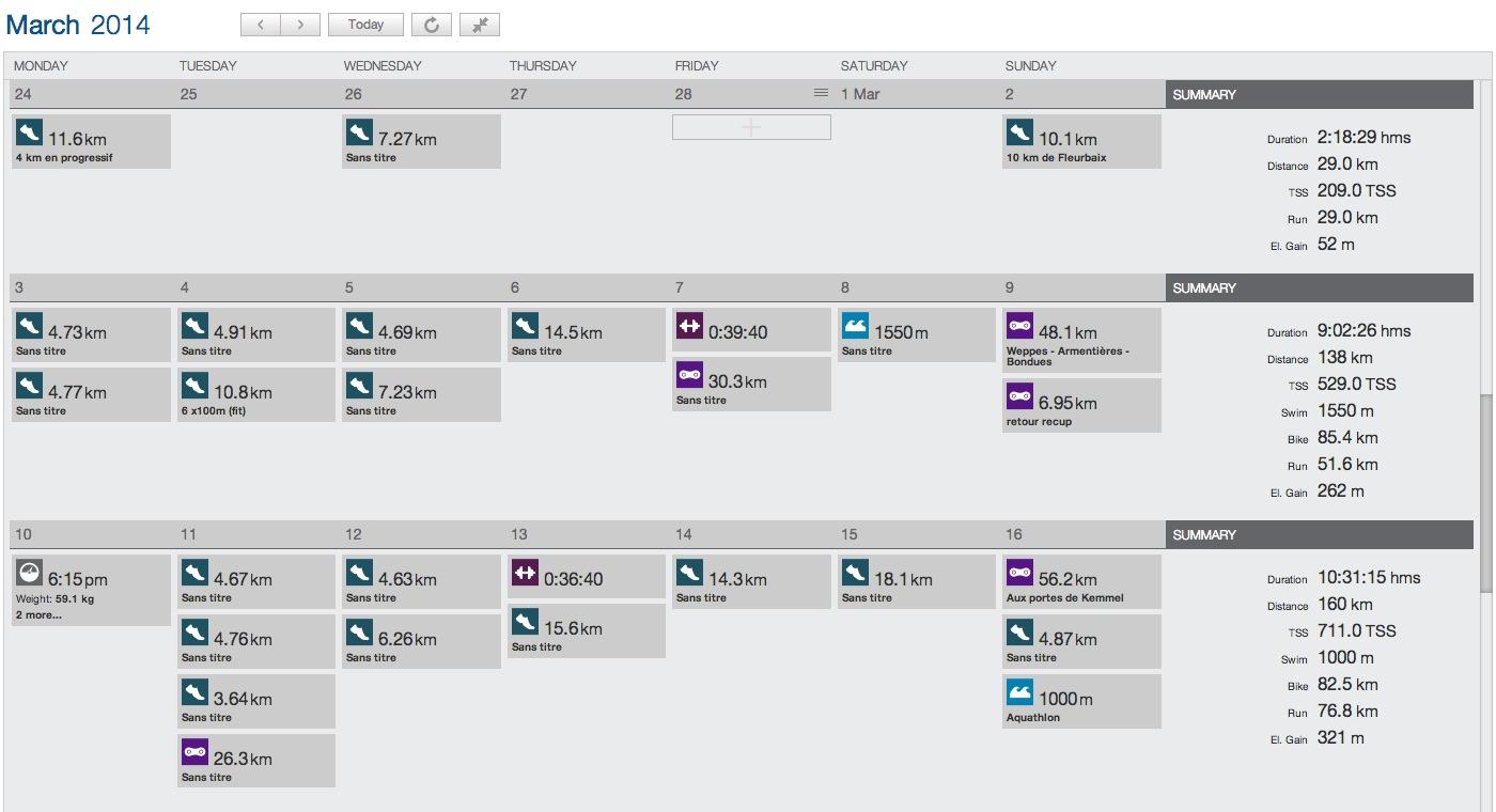 Le calendrier dans la version béta de TP